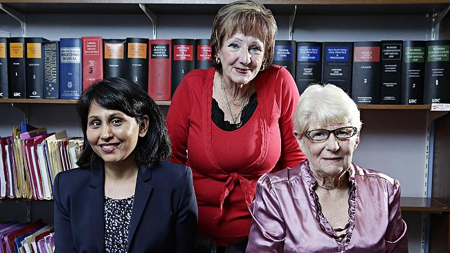 Western Sydney Legal's Anjli Chowdhary, Sandra Wade and Beverly Boyle in their office at 17 Dawson Mall, Mt Druitt. Picture: Adam Yip